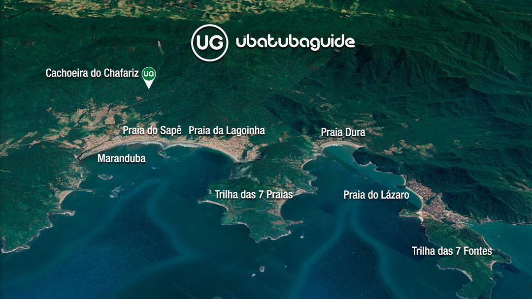 Mapa de localização da Cachoeira do Chafariz em Ubatuba