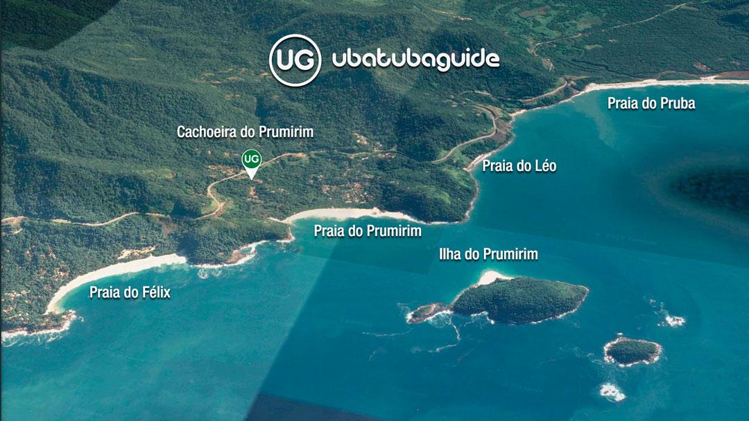 Mapa de localização da Cachoeira do Prumirim em Ubatuba