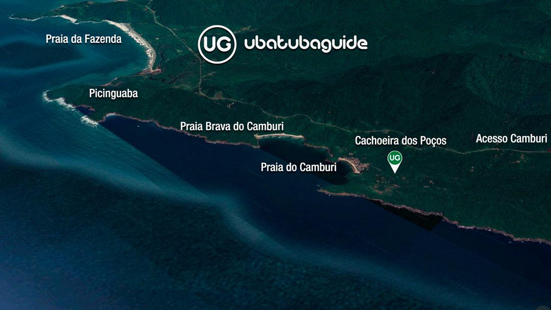 Mapa de localização da Cachoeira dos Poços em Ubatuba