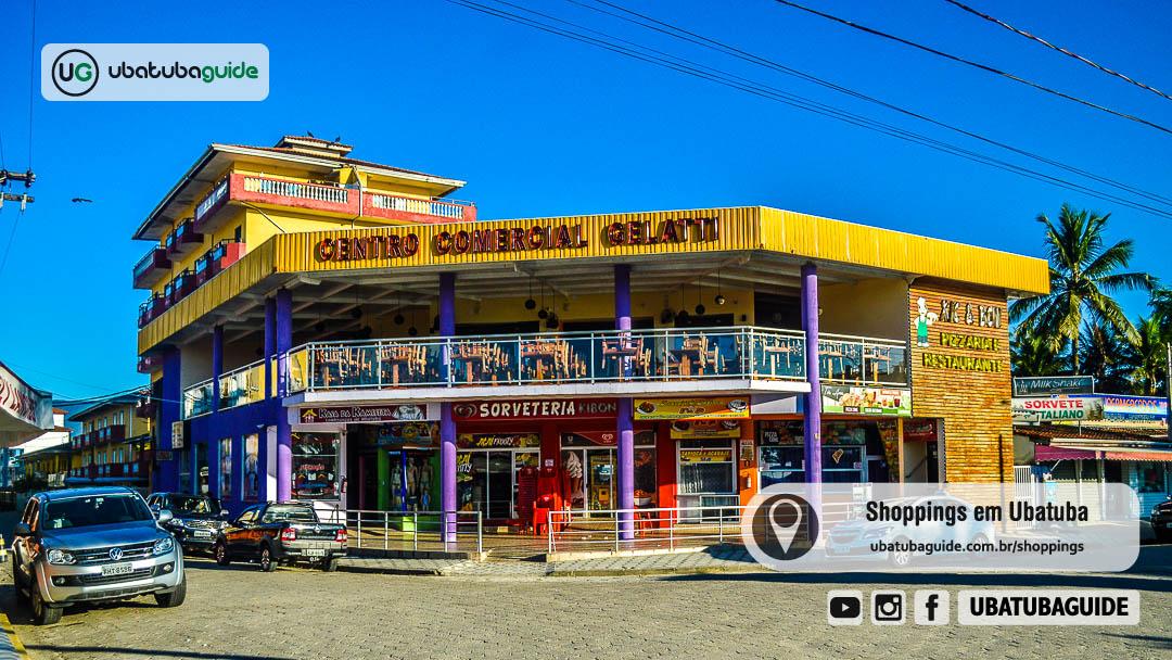 Fachada do Centro Comercial Gelati, localizado ao lado do Center Shopping Rosário. Dois pequenos shoppings em Ubatuba localizados na Praia Grande