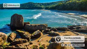 Ondas avançando na direção da orla da Praia Brava da Almada, uma muitas praias desertas de Ubatuba