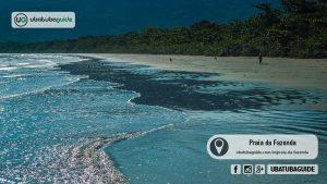 Criança correndo atrás de aves na Praia da Fazenda em Ubatuba. Ao longo de mais de 3 km de extensão, a criança e as duas aves são as únicas a saírem nesse registro fotográfico, justificando a Fazenda como uma Praia Deserta de Ubatuba.