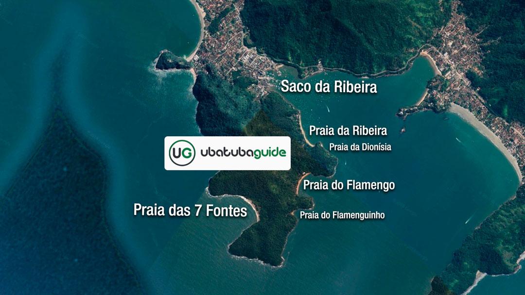 Mapa ilustrativo da Trilha das Sete Fontes, oturo passeio muito oferecido por agências e empresas de ecoturismo em Ubatuba