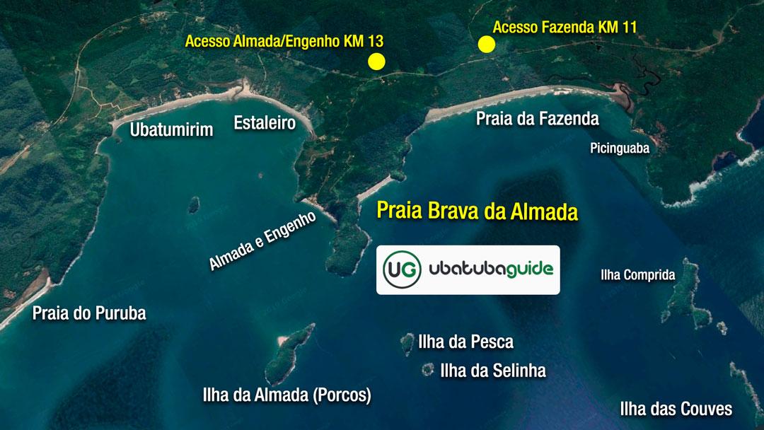 Mapa de localização e acesso da Trilha da Praia Brava da Almada em Ubatuba