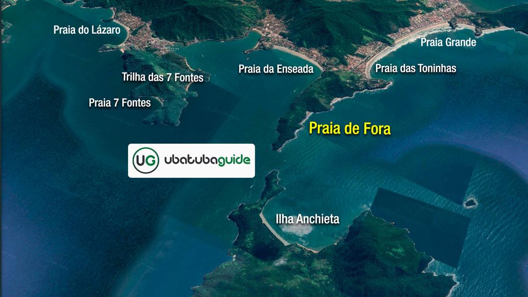 Mapa de localização ilustrativo da Trilha da Praia de Fora em Ubatuba